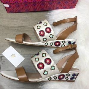 NEW $325 Tory Burch Estella Beaded Wedge Sandal